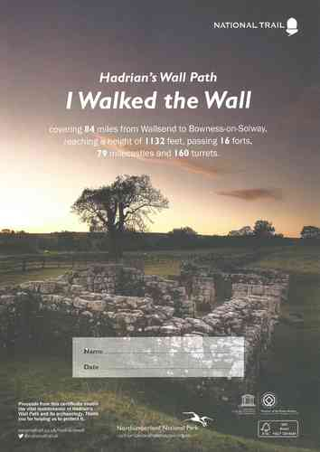 Hadrian's Wall Path Completion Certificate