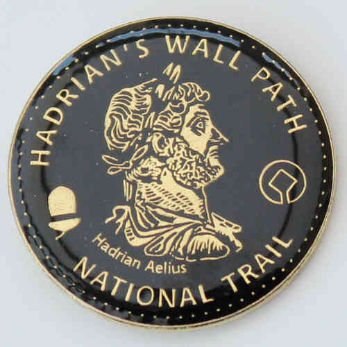 Hadrian's Wall Path Enamel Sestertius Badge (Black)